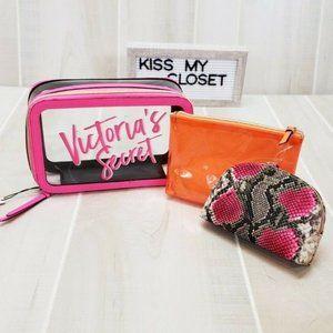 Victoria's Secret Makeup Bag Trio New Neon Snake